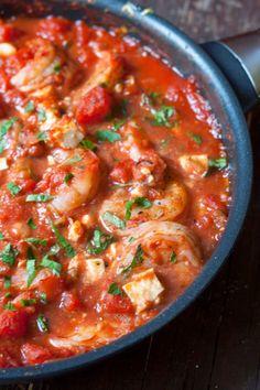 Gebakken scampi's in tomaten feta saus