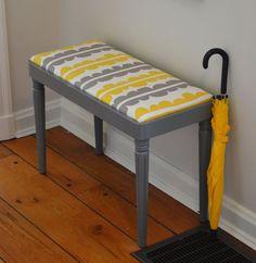 Vintage Vanity Stool / Bench Yellow & Grey Modern by dwellbeing