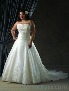 A-line Strapless Sleeveless Taffeta Wedding Dress
