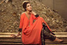 love this! flowy tangerine salwar with black + gold brocade border + pants