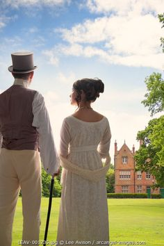 www.arcangel.com - regency-couple-standing-in-the-grounds-of-a