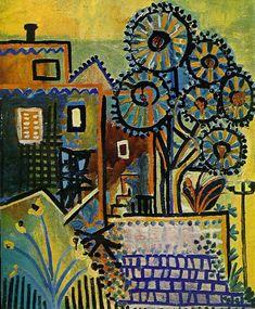 Pablo Picasso (1881-1973 ) Na gestudeerd te hebben aan de kunstacademie in Madrid, maakte Picasso zijn eerste reis naar Parijs. Daar ontmoette hij Max Jacob, die Picasso heeft geholpen met het leren van de Franse taal en inwijdde in de literatuur. Ze deelden een appartement; Max sliep 's nachts, terwijl Picasso overdag sliep en 's nachts werkte. Het waren tijden van armoede, kou en wanhoop. Veel van zijn werk werd verbrand om de kleine woning warm te houden.