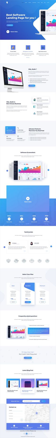 Bufet is clean and modern design PSD template for app, #SaaS and software #landingpage website with 13 layered PSD pages to live preview & download click on Visit