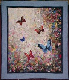 Colorwash Butterfly Quilt - I love colour wash it is natural, like life, without structure yet pleasing and comfortable Watercolor Quilt, Butterfly Watercolor, Quilting Projects, Quilting Designs, Quilt Design, Bargello Quilts, Flower Quilts, Landscape Quilts, Barn Quilts