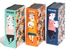 A set of three adorably illustrated piggy banks that'll help children learn how…