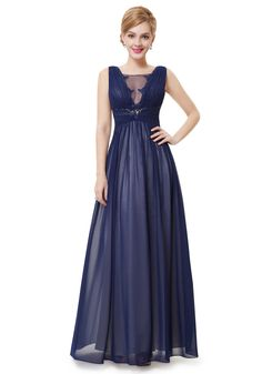 Sexy Floor Length V-Neck Chiffon Blue Prom/Evening Dress