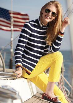 Yellow pants, striped blazer