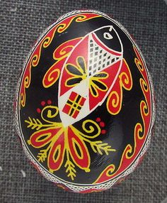 Pysanka, Real Ukrainian Easter Egg Hen Chicken Shell,Geometric Design, Fish C14