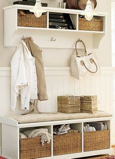 entryway furniture for small spaces for modern houses white bed board with pale grey wall paint equipped with mounted cabinet and coat hanger also tufted - Coat Hooks With Storage