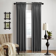 Grand Luxe Gotham Dark Rod Pocket Curtain Panel