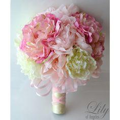 Artificial Silk Flower Wedding Bridal Bouquets Pink/Ivory