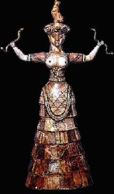 The snakes and bare breasts suggest that the Minoan goddess may be associated with magic and fertility
