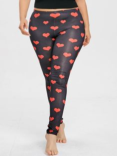 95293ae5bb6 Heart Pattern Plus Size Leggings -  leggings sporty outfit  shoes with  leggings  casual style leggings  female leggings  fall outfits with leggings   Women s ...