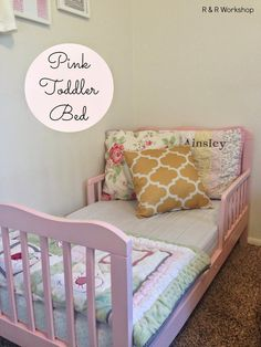 Pink toddler Bed (upcycle!) } www.randrworkshop.com #toddlerbed #upcycle #girlsroom