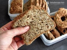Fluffy Grain-Free Sunflower Bread from the KetoDiet Cookbook (low-carb, keto, paleo) Foods With Gluten, Gluten Free Recipes, Low Carb Recipes, Cooking Recipes, Cooking Food, Bread Recipes, Paleo Bread, Low Carb Bread, Low Carb Keto