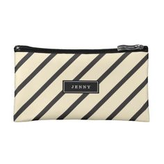 Customizable Black and Cream Stripes Clutch Wallet
