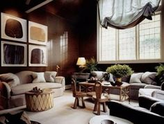 Farrow & Ball Paint No.255 Tanner's Brown - A dark, earthy brown, considered one of the most timeless of decorative tones. Jeffery Bilhuber