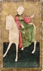 Ambras Court Playing Cards - Lady (or Queen) of Falcon Lures, c.1440-1445