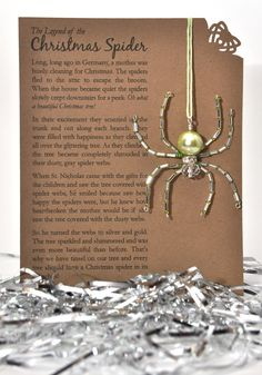 CHRISTMAS SPIDER: Beaded Ornament in Silver and Green with Glass Pearl Body. $11.50, via Etsy.