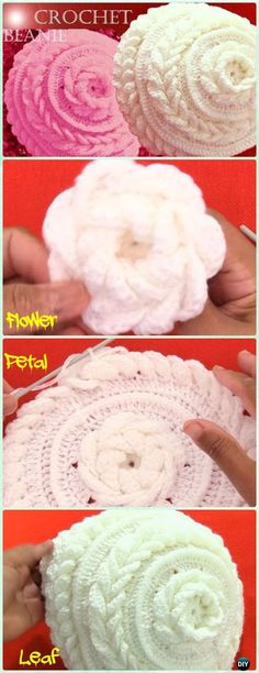 Crochet Double Leaf Stitch Flower Beanie Free Pattern Video -Crochet Beanie Hat Free Patterns