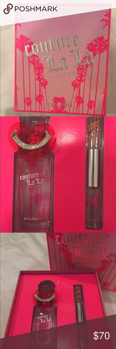 Juicy Couture La La Malibu Perfume Set Never used!!! Set includes 2.5 oz Couture La La Malibu Toilette Spray and .17 Couture La La Malibu & Juicy Couture Malibu Rollerball Duo Juicy Couture Other