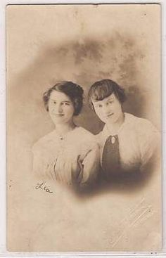 1917 Vintage Real Photo Postcard RPPC Young Women Sisters Studio Portrait Kansas