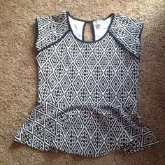 Top Cute bulk and white peplum top Worn once for less than 2hrs Boutique Tops