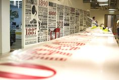 The Sony Music Timeline celebrates 125 years of musical history covering almost 150 square meters of wall space in Sony's Derry Street headquarters. Using just CNC cut vinyl as the sole medium, 54 columns measuring over 2 meters tall cover feature nearly 1000 of Sony Music's signed artists from 1887 to the present day.