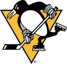 Pittsburgh Penguins Primary Logo (1972) - A penguin skating, holding a hockey stick, on a yellow triangle