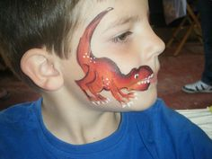 Dinosaur face paint TAG one stroke roar! by Diamond Face Painting UK Awesome Face, Fun Face, Face Paintings, Dinosaurs Face Painting, Dinosaurs Birthday, Parties Ideas, Painting Ideas, Dinosaur Face Painting, Dinosaurs Parties