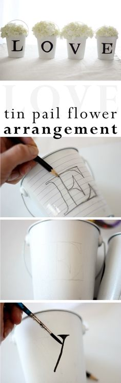 Perfect for Valentine's Day, but great decor for all year round (and any special occasion). DIY instructions here: http://www.ehow.com/ehow-crafts/blog/l-o-v-e-tin-pail-flower-arrangement/?utm_source=pinterest.com&utm_medium=referral&utm_content=blog&utm_campaign=fanpage