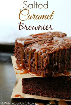Salted Caramel Brownies by Life with the Crust Cut Off ~ shared on Brag About It Link Party Mondays at Midnight on VMG206. #saltedcaramel #brownies #dessert