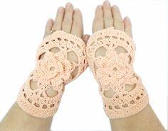 Crochet floral gloves- Salmon gloves- Fingerless gloves- Handmade crochet gloves mittens- Winter trends, Valentines gift. $23.00, via Etsy.