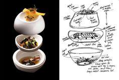 """Sketch & Final dish for Grant Achatz's """"rabbit, parfait, rillette, consomme"""""""