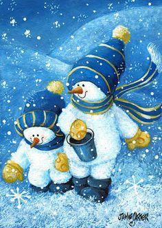snowmen in blue