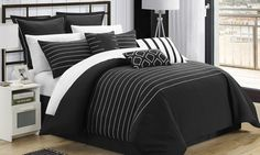 A simple, minimalist pattern runs the length of these embroidered comforter sets, upgrading the bedroom's decor without being distracting