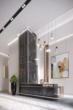 Residential lobby on Behance Elevator Lobby Design, Office Building Lobby, Hotel Lobby Design, Modern Hotel Lobby, Office Lobby, Interior Design Portfolios, Office Interior Design, Luxury Interior Design, Office Interiors