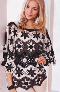 Star Sweater - Free Crochet Diagram - (1001uzor)