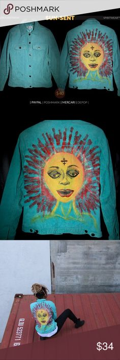 Suede Hand Painted Sun Jacket 🌞 Suede Lightweight Sun Jacket 🌞  • Fingerprinted Sun Rays  • Lux Suede Material  • Washer & Dryer Tested  (gentle cycles + medium heat)  • Small-M, great for even taller individuals.    Sun-Sent.  Vibrant, expressive, & eccentric— this wearable surrealistic #art piece casts a #dope vibe of any #creative #soul of it's choice.   As all other exclusive selections of the #Spiritwear™ by #RESURRXTION® line: Unique to its creation— the only of its kind. Tops