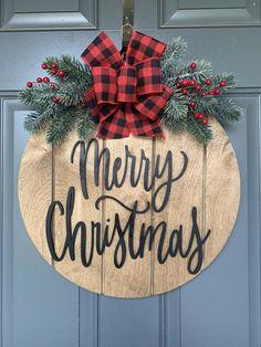 Front Door Decor Christmas Wreath for Front Door Merry   Etsy