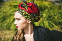 335-01 African Wax Print Turban Dreads Wrap, Red Yellow Black Head Wrap, Alopecia Scarf, Chemo Hat, Boho Gypsy Tribal, One Piece Wrap - pinned by pin4etsy.com