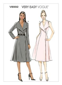 Sewing Patterns Free Vogue Patterns - Vogue Patterns Misses' Fold-Back Collar Wrap Dresses pattern for lined, wrap dress (fitted through bust) with front extending into fold-back collar, princess seams, inside ties, side pockets and hook Vogue Dress Patterns, Vogue Sewing Patterns, Vintage Sewing Patterns, Skirt Patterns, Coat Patterns, Blouse Patterns, Clothes Patterns, Sundress Pattern, Robes Vintage