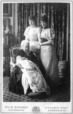 1894 Duchess Mary, Princess Alexandra, and Queen Victoria with the future Edward VIII