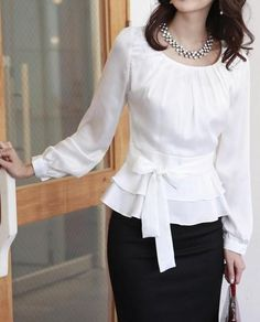 Fashion Women's OL Style Sweet Pleated Bodice Ruffled Ribbon Waist Blouse Shirt in Clothing, Shoes & Accessories, Women's Clothing, Tops & Blouses Cute Blouses, Shirt Blouses, Modest Fashion, Fashion Dresses, Bluse Outfit, Silvester Outfit, Business Outfit, Business Lady, Business Chic