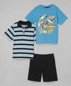 Look at this #zulilyfind! Black & Blue Stripe Polo Set - Toddler & Boys #zulilyfinds