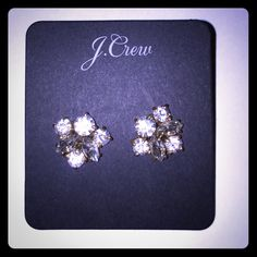 J. Crew rhinestone earrings These earrings are about the size of a penny, very comfortable to wear and easy to put on for any occasion. You can pull them off as statement piece to a trendy outfit or you can wear them to a formal event because of their size. There are six matching stones on each earring with a gold setting, so they can be worn with silver or gold jewelry! J. Crew Jewelry Earrings
