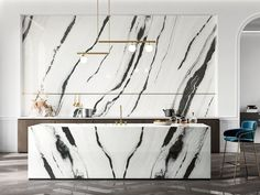 Personalized Kitchen with ceramic top and doors Kitchen Room Design, Modern Kitchen Design, Interior Design Kitchen, Marble Wall, White Marble, Marble Floor, Marble Effect, Wall And Floor Tiles, Cuisines Design