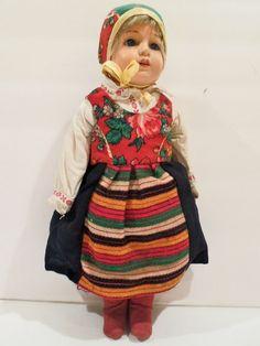 Celluloid by Rheinische Gummi Swedish Folk doll made in Germany 1926