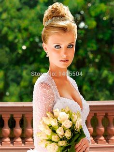 A Line Sweetheart Floor length Beaded Backless crystals sheer beads Tulle Luxury Beading Dignified Wedding Dresses 2015 New