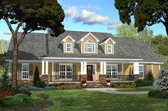 Country Style House Plan - 4 Beds 2.5 Baths 2250 Sq/Ft Plan #430-47 Exterior - Front Elevation - Houseplans.com